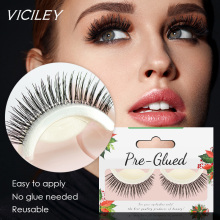 VICILEY 5Pairs/lot  Self Adhesive False Eyelashes No Glue Natural Long 3D Handmade Fake Eyelash Extensions Makeup Beauty ZKS01