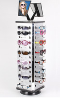 Aluminum Plastic Board Eyeglass Sunglasses Display Holder Rack Stand Turnable Each Distance 0.5 0.6cm with Mirror 2 Sets