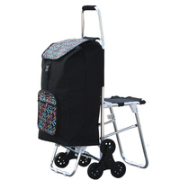 Aluminum Alloy Climbing Shopping Cart with Bag Foldable Six Wheels Pull Cart with Seat Portable Supermarket Trolley