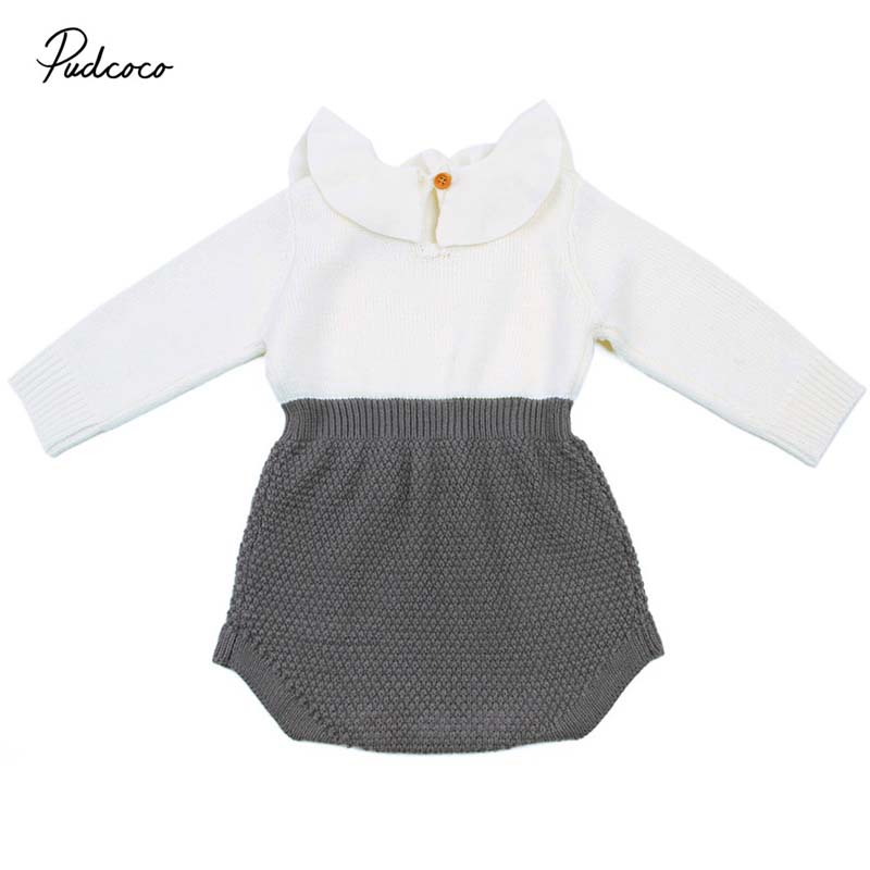 Pudcoco 2018 Warm Newborn Baby Girls Wool Kniting Bodysuit Sweaters Ruffle Patchwork Jumpsuit Autumn Winter Outfit Clothes 0-24M 2017 babies girl clothing whilte sleeveless suit newborn toddler baby girls arrow bodysuit jumpsuit outfit clothes 0 24m