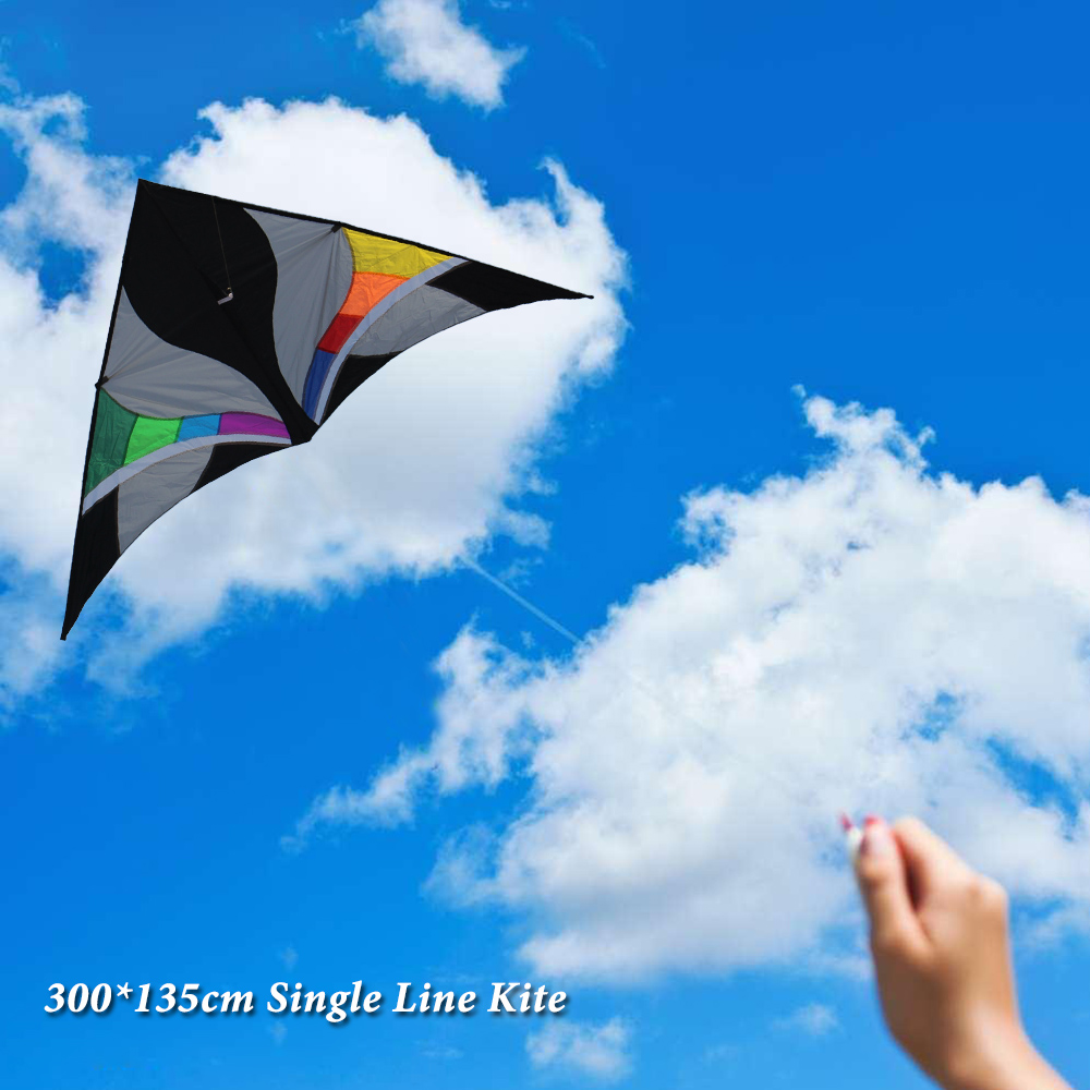 300*135cm Huge Delta shape Kite Single Line Kite Flyer Triangle Assembled Kite for Children Adults Outdoor Fun Easy to Fly