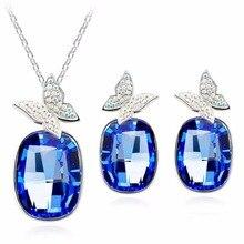 Женские хрустальные стразы-бабочки, квадратная подвеска на цепочке, ожерелье для девушки на день рождения, модное ювелирное изделие, подарок 80004