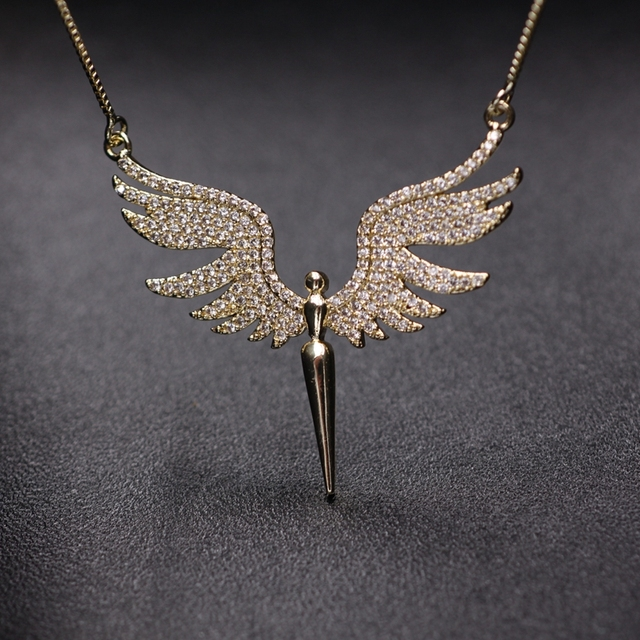 Charm Angel Wing Pendant Necklace For Women Full Micro Cubic Zirconia Paved 2019 Fashion Gold Color& Silver Color Angel Necklace