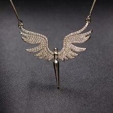 קסם מלאך כנף תליון שרשרת לנשים מלא מיקרו מעוקב Zirconia סלול 2019 אופנה זהב צבע & כסף צבע מלאך שרשרת