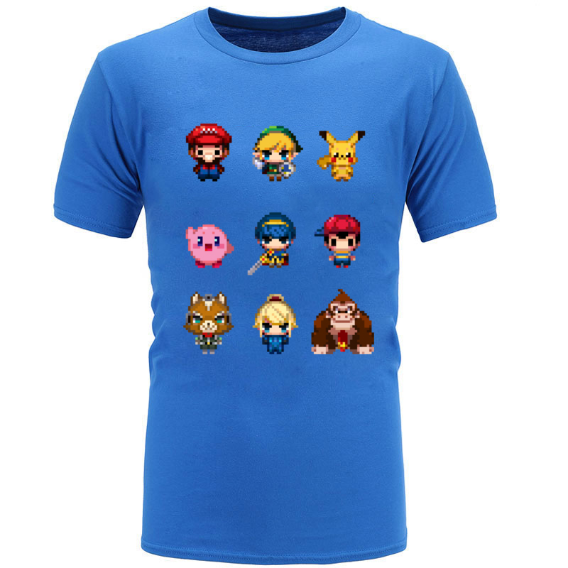 Us 68 40 Offsuper Mario T Shirts Bros Pokemon Pikachu Pixel Funny Cute Cartoon Print T Shirts Large Collection Comic Kawaii Game Tshirts Boy In