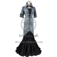 Victorian Edwardian Cotton Blend Tartan Dress Ball Gown Cosplay With Tall Stand Collar Design And Tassels Decorated For Party