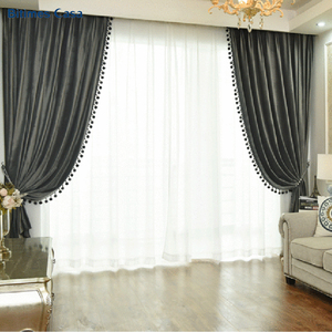 Image 2 - New Color Velvet Blackout Window Curtain With Pompon Decoration Ball High Shading Solid Color For Living Room Bedroom Curtain