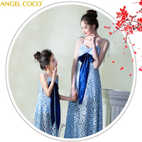 Mother Mom and Daughter Dresses Wedding Family Look Set Mommy and Me Dress Blue Evening Dress for Party Matching Outfits Sister