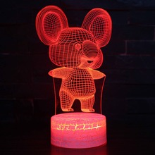 Koala 3D Visual Night Light Animal LED 7 Colors Changeable Lamp USB Illusion Table Lamps For Home Decoration As Kids Toy Gifts acrylic 7 colors changing animal horse led nightlights 3d light led desk table lamp usb 5v lamps for home decoration