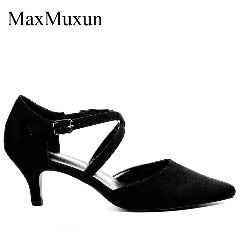 Womens Ankle Strap Sandals Low Kitten Heel Ladies Party Evening Pointed Toe Pump Strappy Court Bridal Shoes