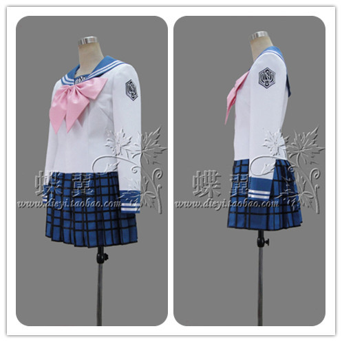 Super Dangan Ronpa 2 Danganronpa Maizono Sayaka Cosplay Costume Lolita School Uniform tops+skirt+tie