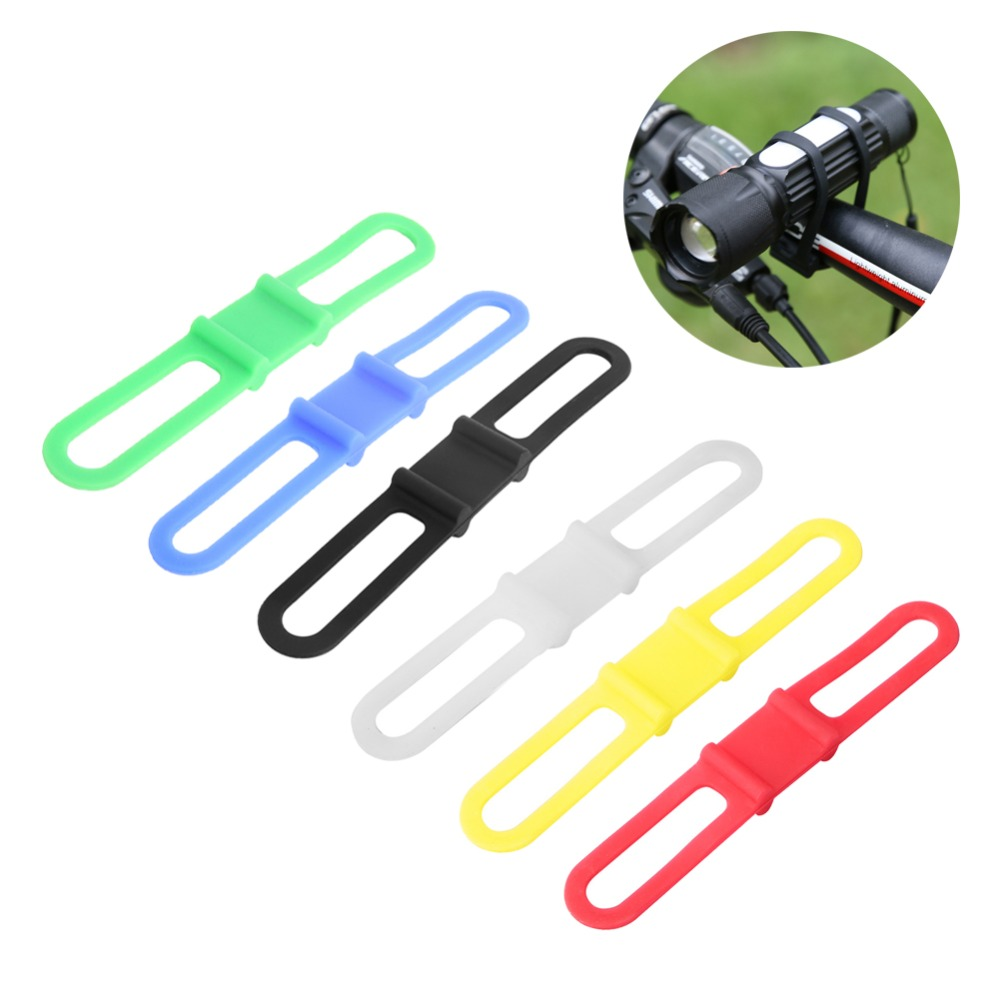 New Bike Silicone Strap Bandage Flashlight Clip Bicycle Handlebar Silicone Elastic Belt Torch Bands Bicycle Light Torch Holder