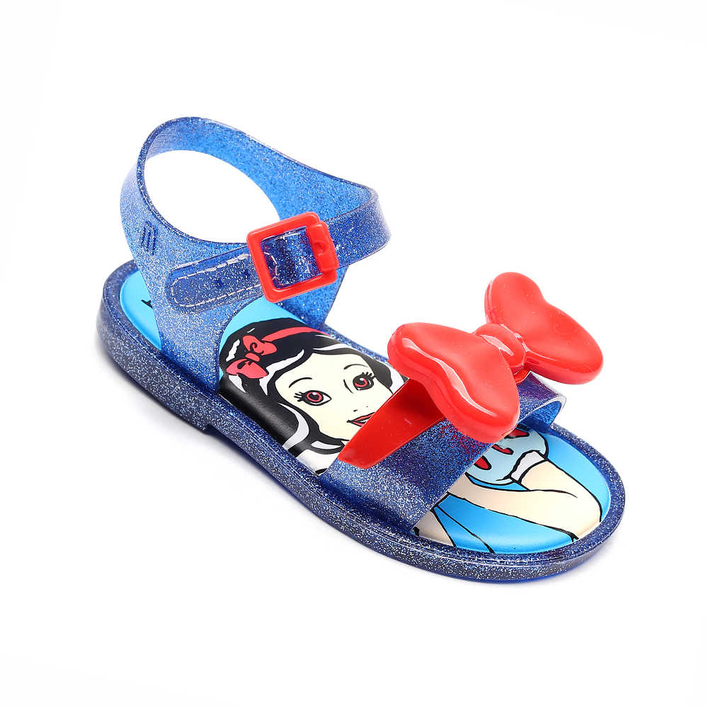 Mini Melissa 2019 Công Chúa Mới Jelly Giày Dép Bé Gái Nơ Giày Khiêu Vũ Hoạt Hình Kẹo Màu Sa Melissa Giày