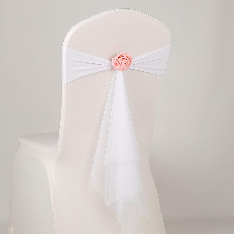 Белый цвет спандекс пояса с роза мяч искусственный цветок и органза стул створки Свадебные лайкра галстук-бабочка band оптом