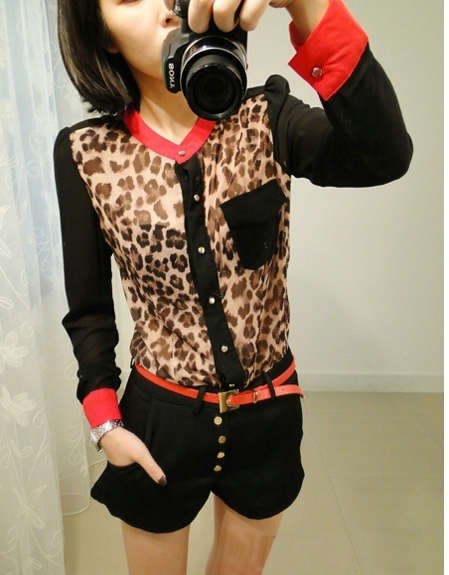 Hot Sale 2015 New Fashion Women Leopard Chiffon Blouse Long Sleeve Leopard Shirt PLUS SIZE Y3817