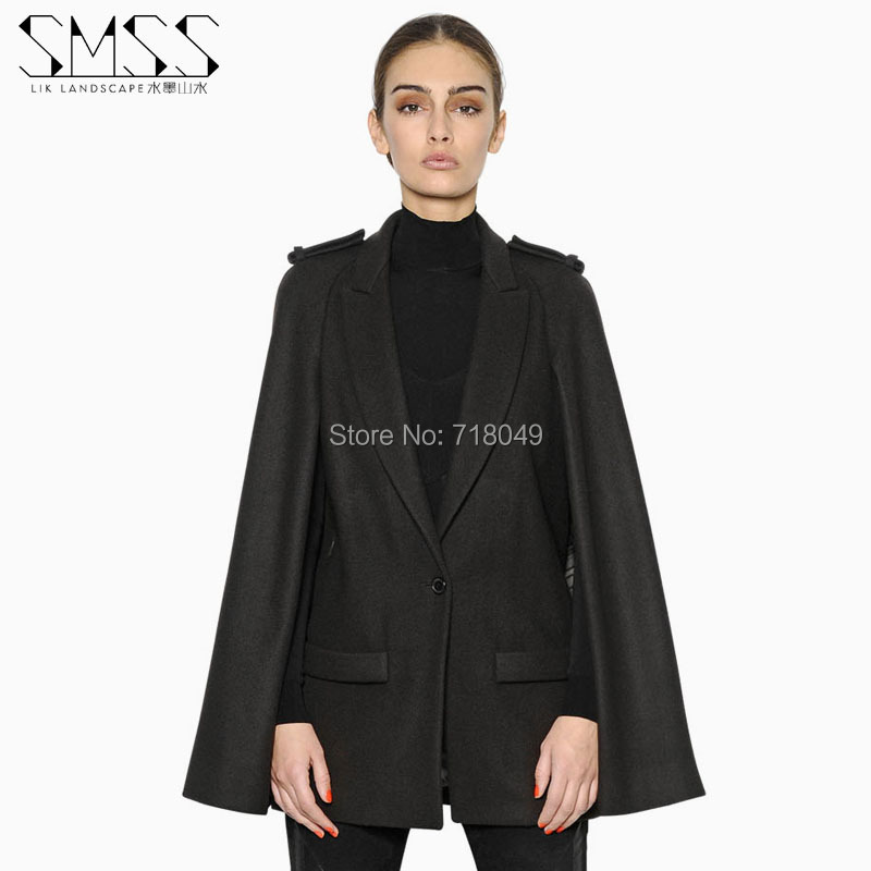 Womens Black Cape Coat Photo Album - Reikian