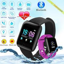 Nowy ID116Plus inteligentny mężczyzn i kobiet zegarek tętna z monitorowaniem snu krokomierzem IP67 wodoodporny zegarek dla android ios tanie tanio nanoleaf Moda casual 3Bar Z tworzywa sztucznego Cyfrowy Klamra Plac Papier 20mm 43mm Silikon Wyświetlacz LED Auto data