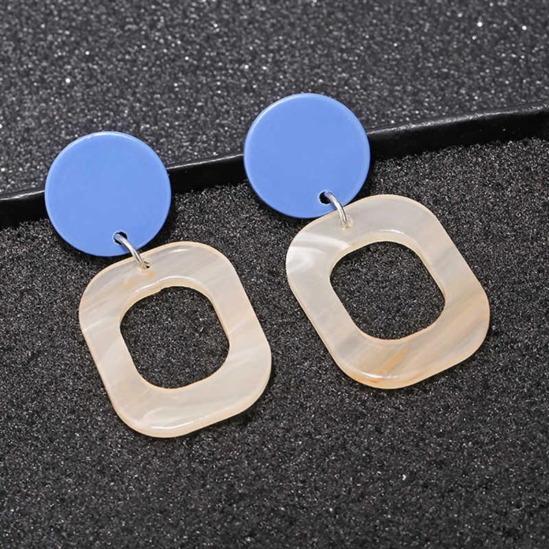 Модные квадратные акриловые сережки серьги простой круглый геометрический Гавайские пляжные серьги старинные эффектные ювелирные украшения для Women2019