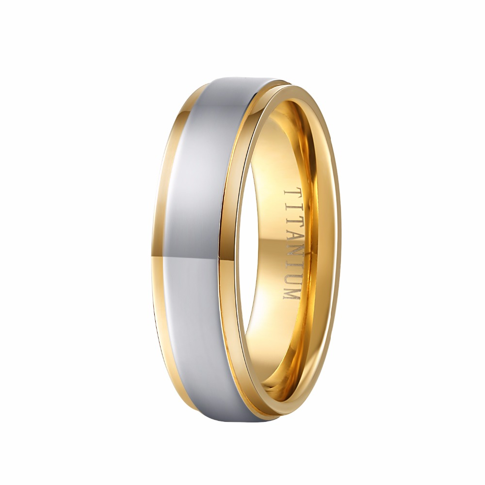 100 Pure Titanium Ring 6MM Gold Color Mens Wedding Band Ring Comfort Fit Mens Fashion Jewelry