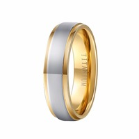 100% saf titanium halka 6mm altın renk mens düğün band yüzük comfort fit mens moda takı wti040r