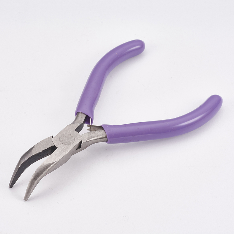 Carbon Steel Jewelry Pliers Bent Nose Pliers Polishing Jewelry Making Tools 12x7.2x0.9cm