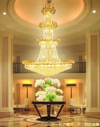 Modern Emas Kristal Chandelier Lampu Fixture Amerika Besar Emas - Pencahayaan dalam ruangan - Foto 3