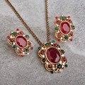 Vintage Étnico Turco Conjuntos de Jóias Do Partido Da Flor Pingente Colar & Brincos de Resina Brincos Joyas Colar Verde Vermelho de Casamento Das Mulheres
