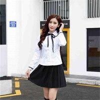Branco T-Shirt + Saia Xadrez Uniforme Escolar Japonês Turma Estilo Marinheiro Terno Meninas Da Escola de Moda Uniforme C101