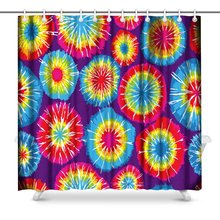 Tie Dye Print Polyester Fabric Shower Curtain(China)