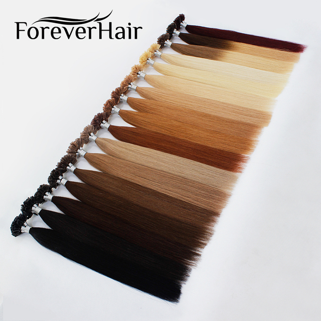 """FOREVER HAIR 1g/s 16""""18"""" 20"""" 24"""" Real Remy Fusion Human Hair Extension Keratin Natural Colored Strands Of Hair Capsule 50pcs/pac"""