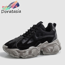DORATASIA 2019 New INS Hot Old Style Girl Dad Shoes Woman Whole Genuine Leather Sneakers Large Size 35-42 Platform Lady