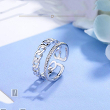 Double Layer Open Rings Special Chain With Opening Ring Jewelry Hollow Simple Punk Silver Color Ring For Women Female Finger