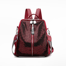 New sequins women's backpack fashion trend school bag canta
