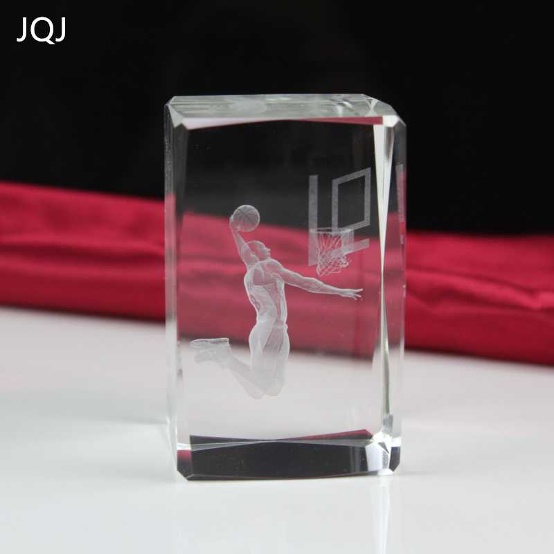 JQJ 3D Crystal Glass Cube Kobe Bryant K9 Crystal Fans Gift NBA Basketball Superstar Special birthday present Desk Ornaments