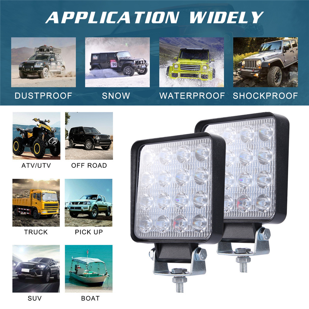 Image 5 - 2x LED Lamps For Cars LED Work Light Pods 4 Inch 160W Square Spot Beam Offroad Driving Light Bar Luces Led Para Auto-in Light Bar/Work Light from Automobiles & Motorcycles