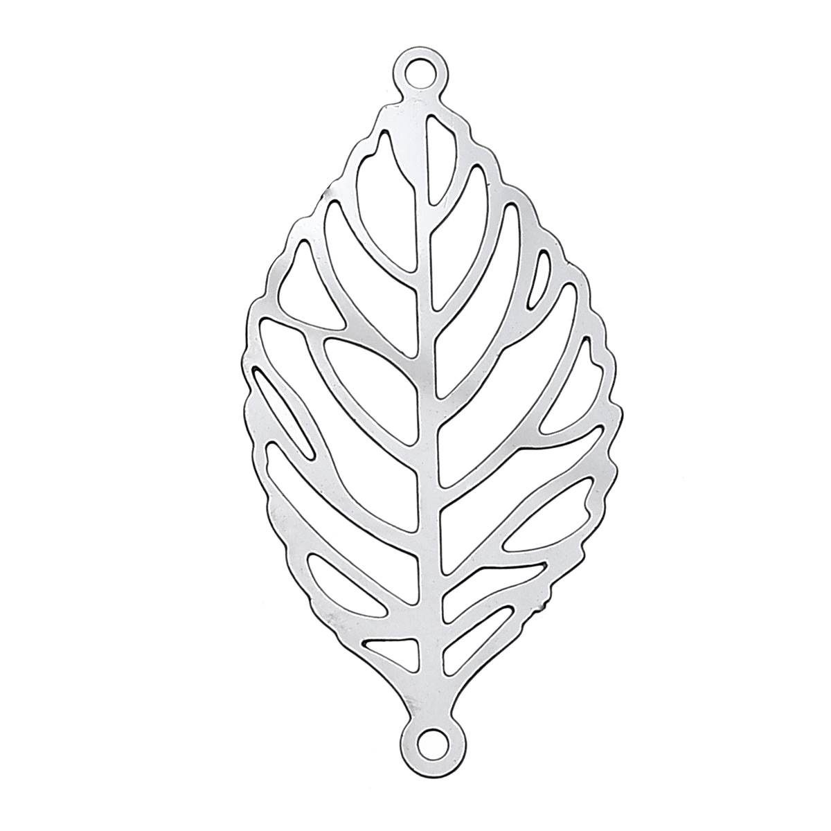 DoreenBeads Stainless Steel Connectors Findings Leaf Silver Tone Hollow 30mm(1 1/8)x 15mm(5/8),30 PCs