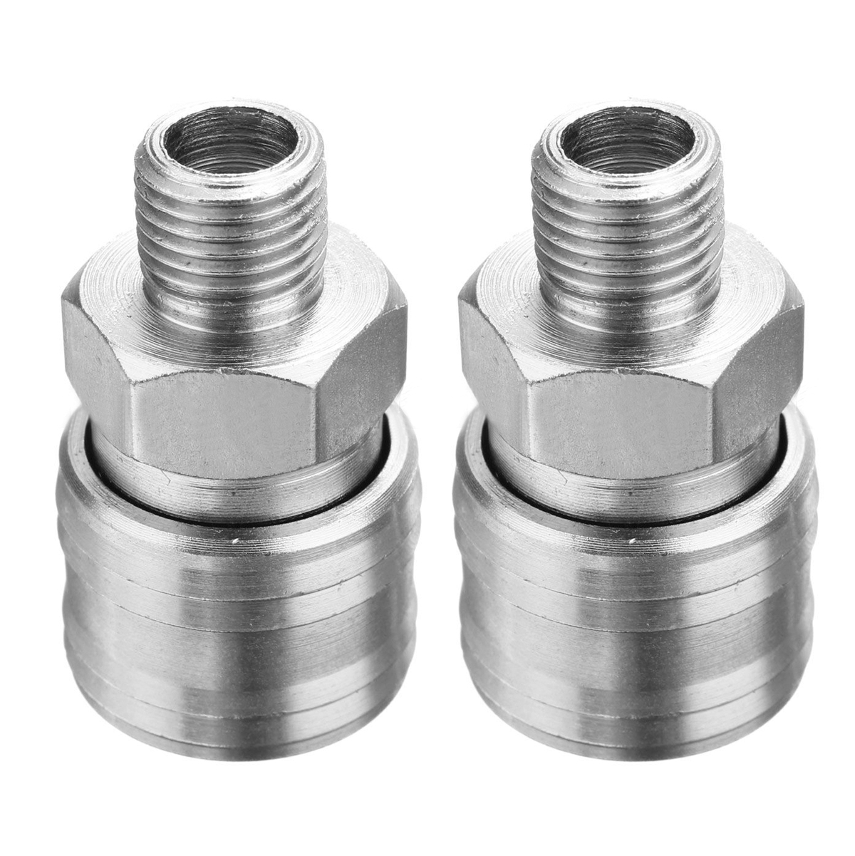 2pcs Euro Female Air Quick Connectors Air Line Hose Compressor Connector Fitting 1/4 BSP Male Thread 45x25mm 2pcs air line hose connector euro female quick release fitting with 1 4 bsp male thread mayitr for home tool accessories