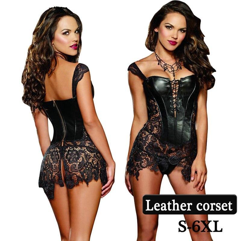 2017 Hot výprodej Faux kožené korzety a poprsí Sexy Steampunk overbust korzet šaty krajky-up duté pasu trenér S-XL