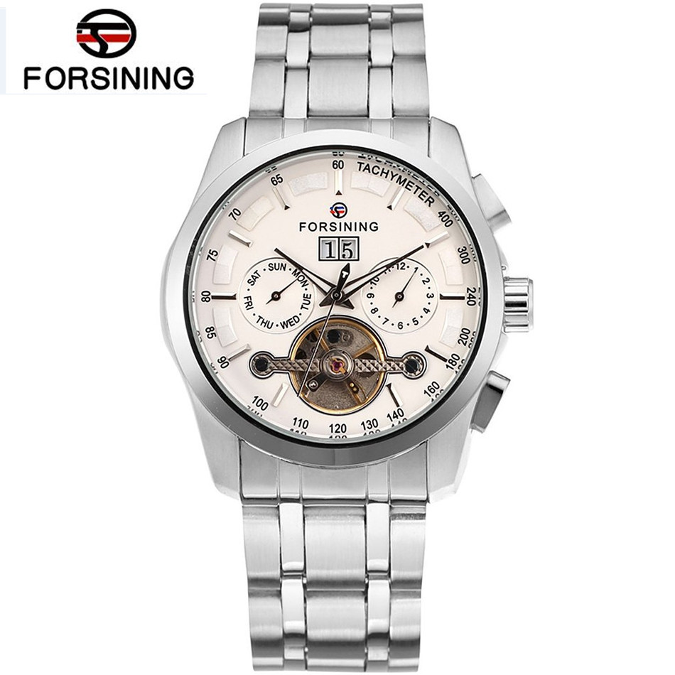 FORSINING New Watches Men Gold Rose Tourbillion Automatic Mechanical Watch Wristwatch with Gift Box forsining fsg6625m3r2 new automatic fashion dress men watch tourbillon rose gold wristwatch for men best gift free shipping