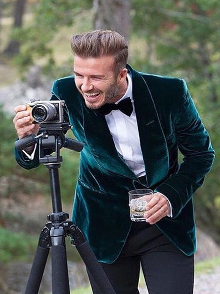 Green Velvet Men Suit Formal Wedding Suits For Men Shawl Lapel Prom Party Suit With Black Pants 2 Piece Groom Tuxedo Male Blazer