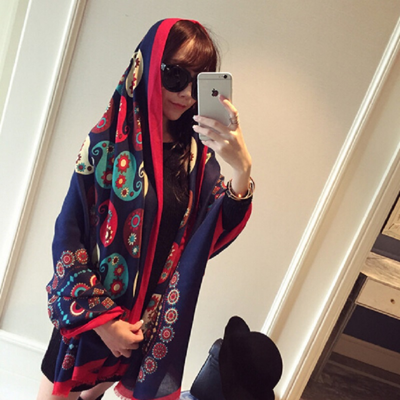 Jinjin QC 2019 New Fashion Cashew flowers women Scarves and Shawls Cotton Autumn Warm Long Spain Desigual Scarf girls Pashmina in Women 39 s Scarves from Apparel Accessories