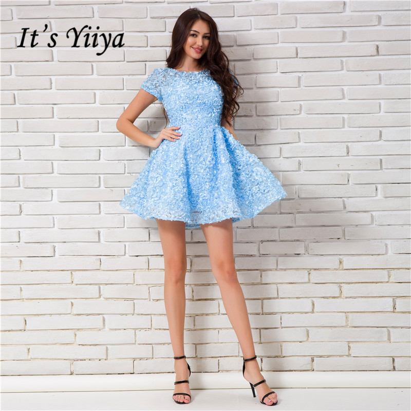 It's YiiYa 2018 New Blue Short Sleeve Appliques Mini Dinner   Cocktail     Dresses   Ball Gown Party Short Formal   Dress   MW008