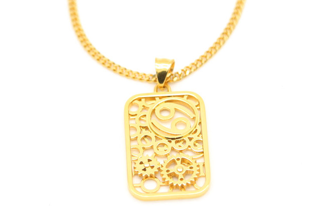 Zidom Gold Color Cancer Symbol Gear Turnable For Lovers Pendant