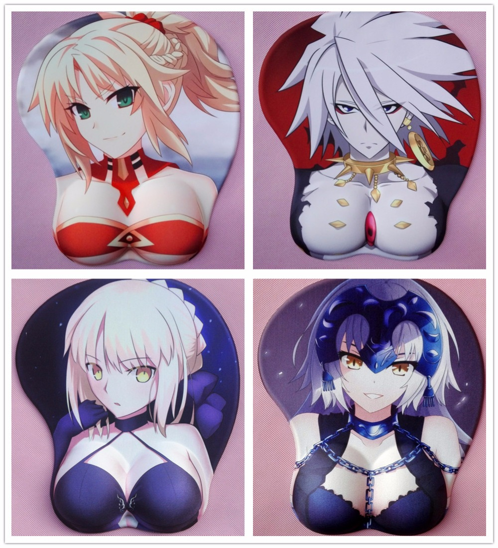 2018 new version Japanese anime 3d mouse pad wristbands Cartoon Creative sexy mouse pad Chest beauty mouse pad Free Shipping