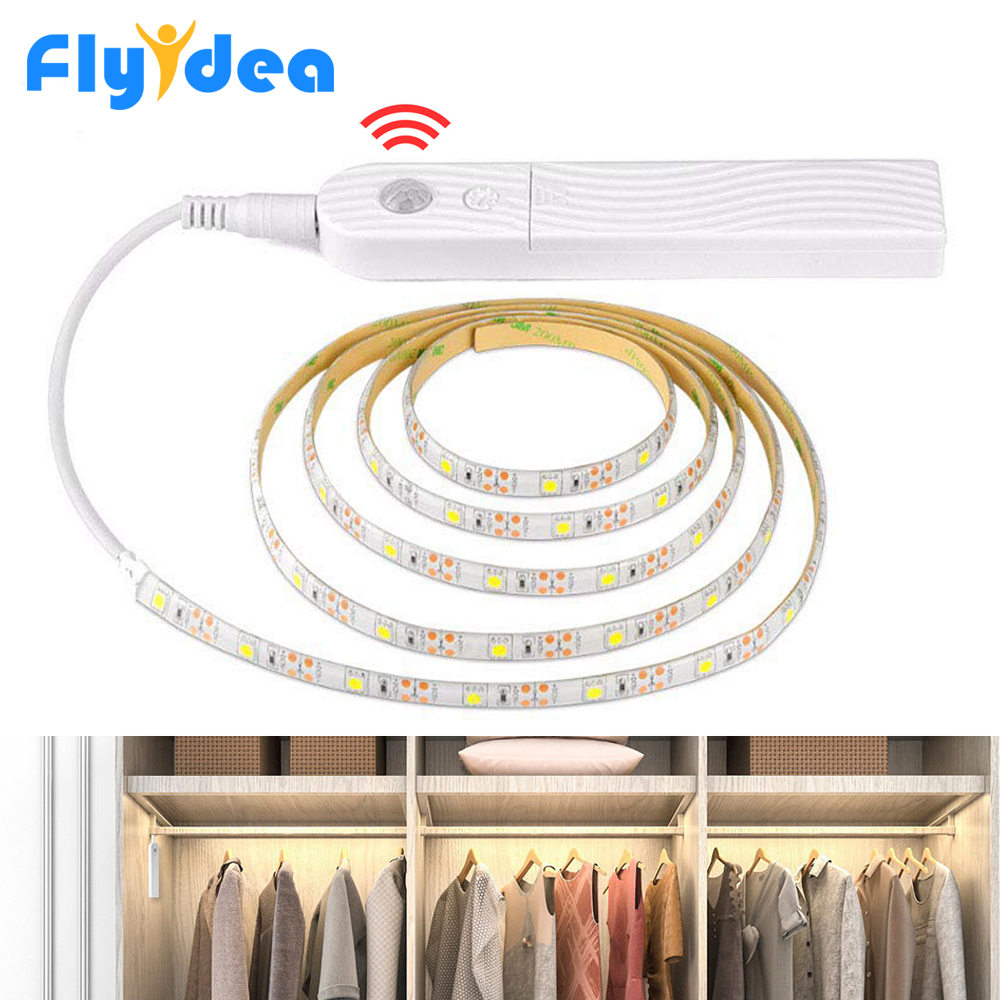3M 2M 1M Motion Sensor LED Light Strip Waterproof PIR Induction Night Light Battery Powered Wardrobe Bed Bottom Smart Lighting