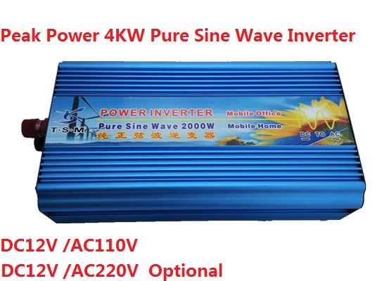 цена на Pure Sine Wave Power Inverter 2000W 2KW DC 12v/24V to AC 110v/220V 50hz/60hz peak power digital display 4000W power inverter