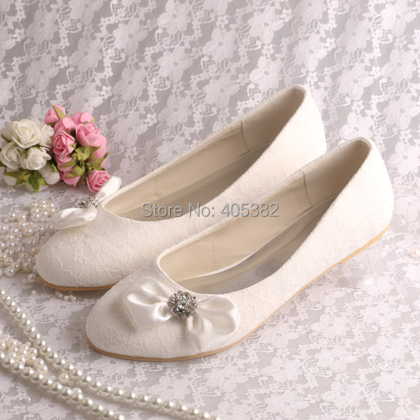 ФОТО Wedopus Wholesale Bulk Order Wedding Women Shoes Lace Ivory Ballet Flats with Bowtie