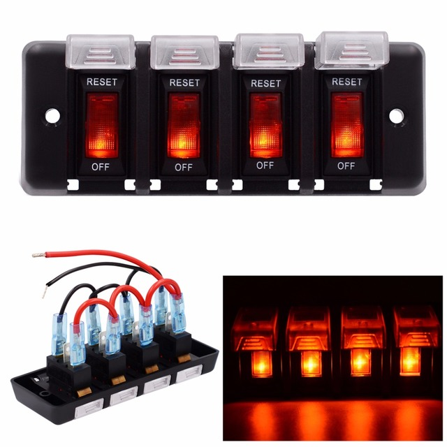 12v 16a 4 gang panel waterproof red led power switch circuit breaker with  fuse for boat