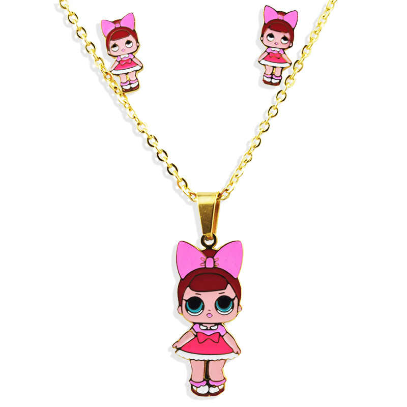Fashion Cartoon Pink LOL Doll Stainless Steel Golden Plated Necklace/Earrings Sets Jewelry for Women girl Kids Jewellery Gift