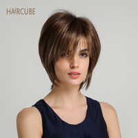 Haircube 6 Inch Women Synthetic Hair Wig Bob Haircut Pixie Style with Bangs Light Brown Mixed Color Short Wigs
